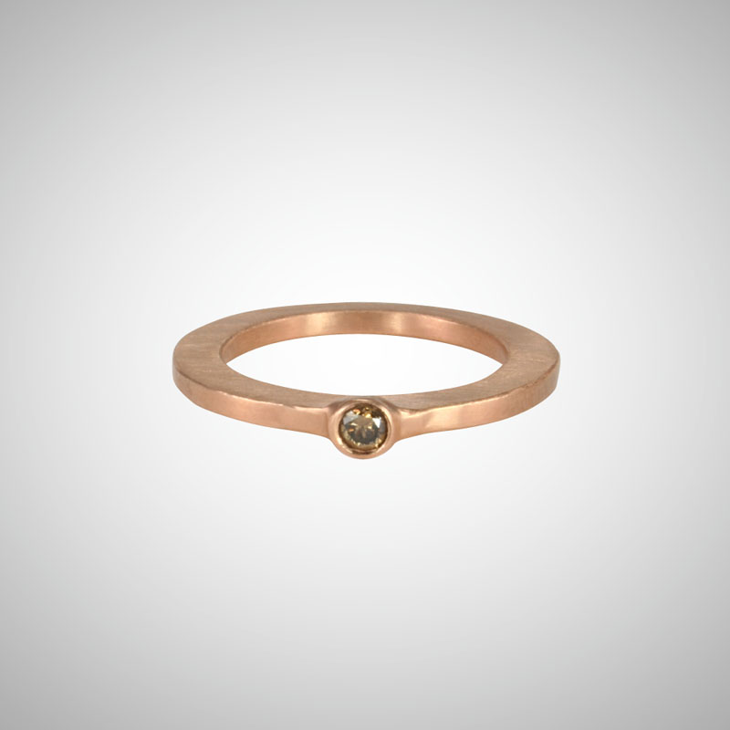 Skinny Rose Gold Small Cognac Diamond Single Stone Ring