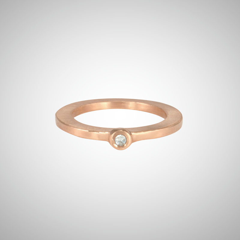Skinny Rose Gold Baby White Diamond Single Stone Ring