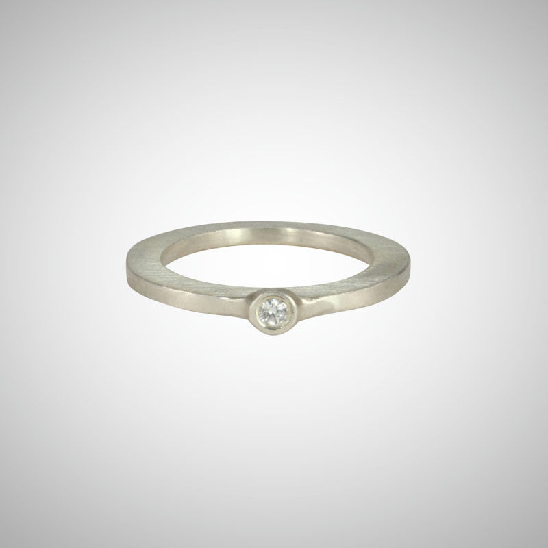 Skinny Sterling Silver Baby White Diamond Single Stone Ring