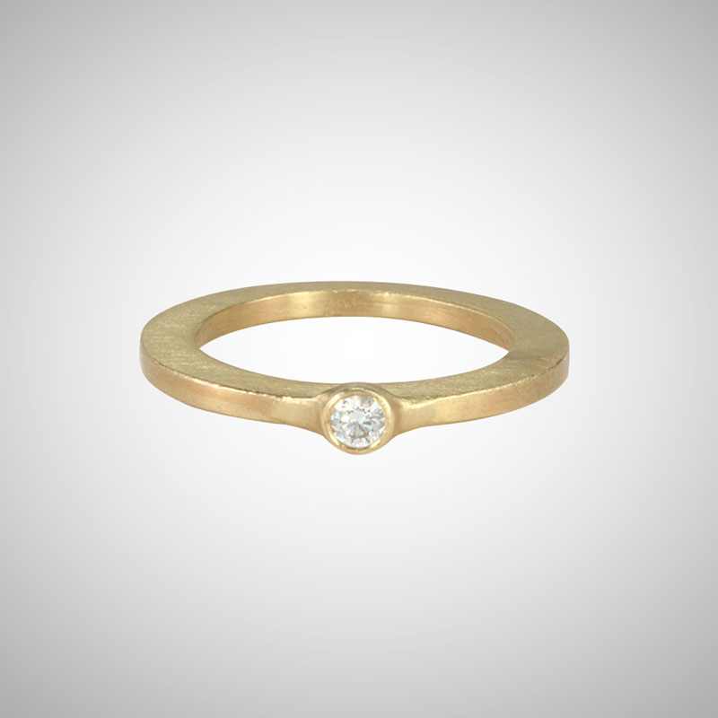 Skinny Yellow Gold Small White Diamond Single Stone Ring