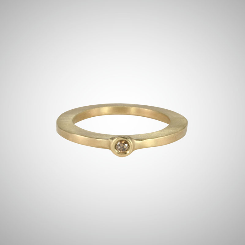 Skinny Yellow Gold Baby Cognac Diamond Single Stone Ring