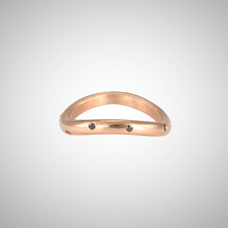 Curved Rose Gold Stacking Ring with Black Diamonds