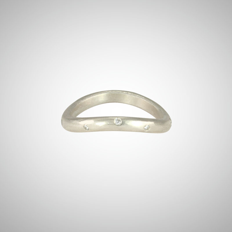 Curved Silver Stacking Ring with White Diamonds