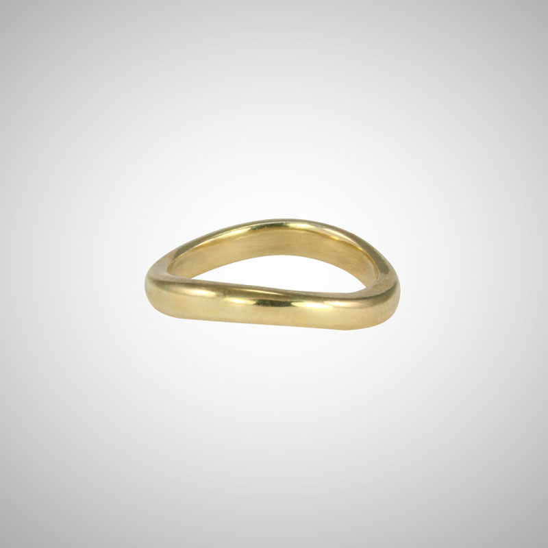 Curved Yellow Gold Stacking Ring