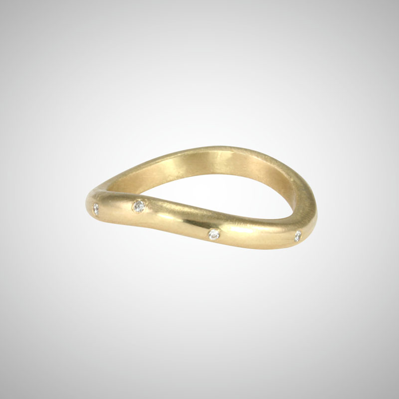 Curved Yellow Gold Stacking Ring with White Diamonds