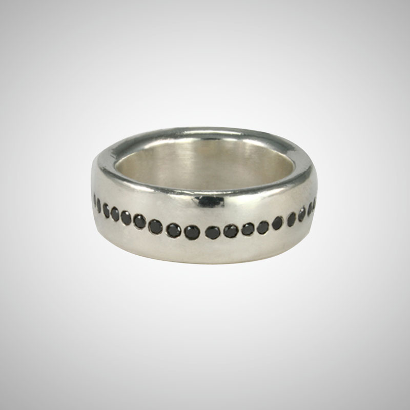 Extra Wide Silver Ring with Black Diamonds