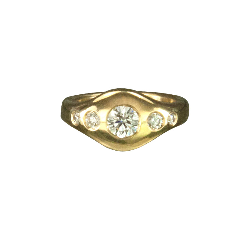 Custom Yellow Gold Engagement Ring with 5 White Diamonds