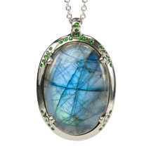 Custom Pendant in White Gold  with Labradorite and Tsavorite